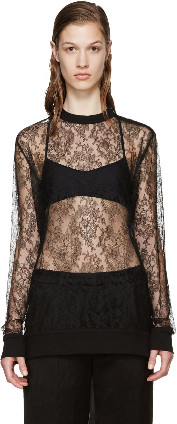 Givenchy Black Floral Lace Pullover