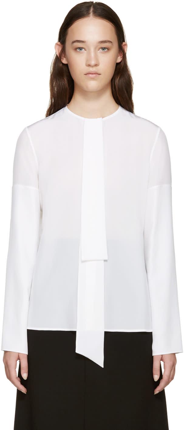 Givenchy White Silk Necktie Shirt