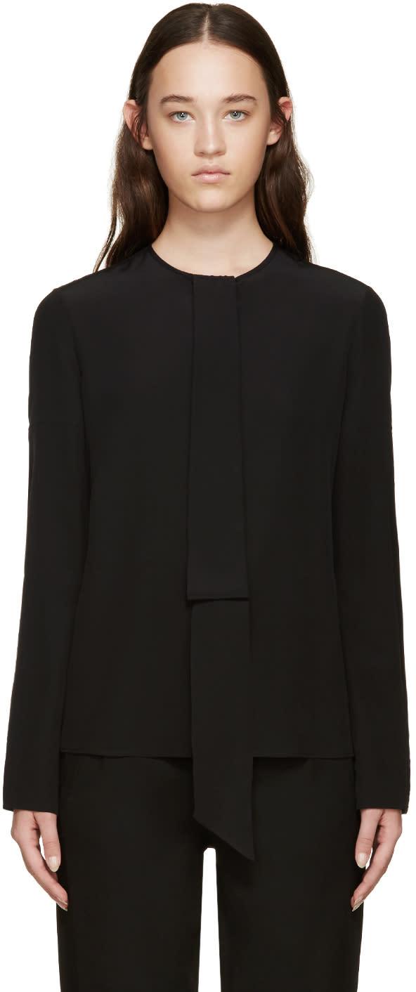 Givenchy Black Silk Necktie Blouse