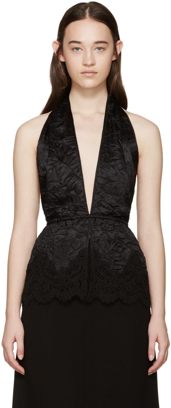 Givenchy Black Deep V-neck Halter Top