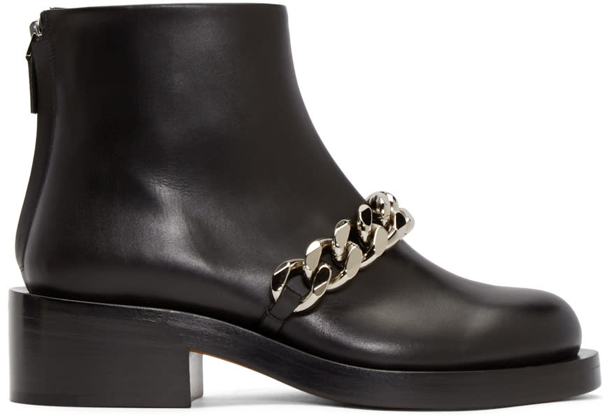 Givenchy Black Curb Chain Ankle Boots