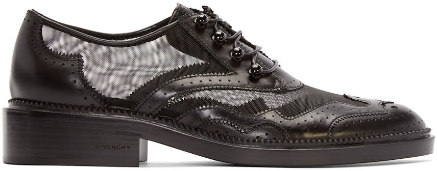 Givenchy Black Leather and Mesh Brogues