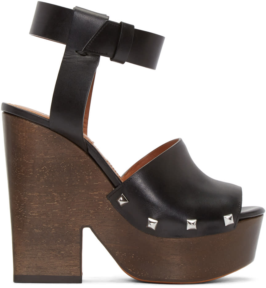 Givenchy Black Leather Sofia Sandals