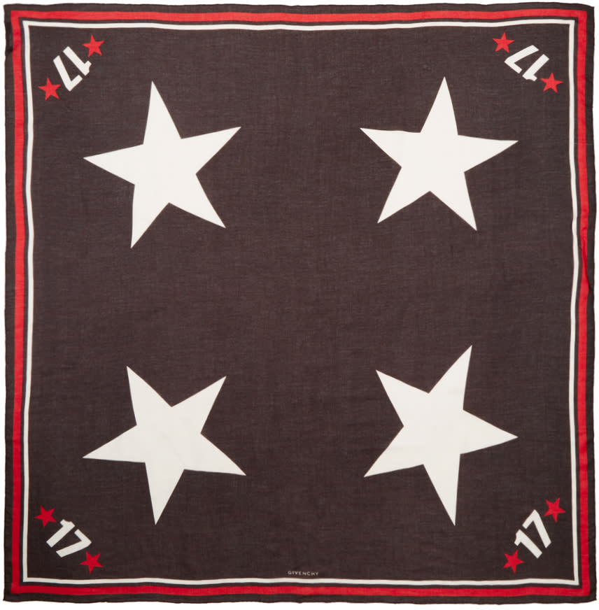 Givenchy Tricolor Stars and Numbers Scarf