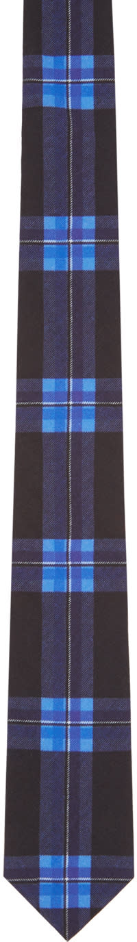Givenchy Black and Blue Check Tie