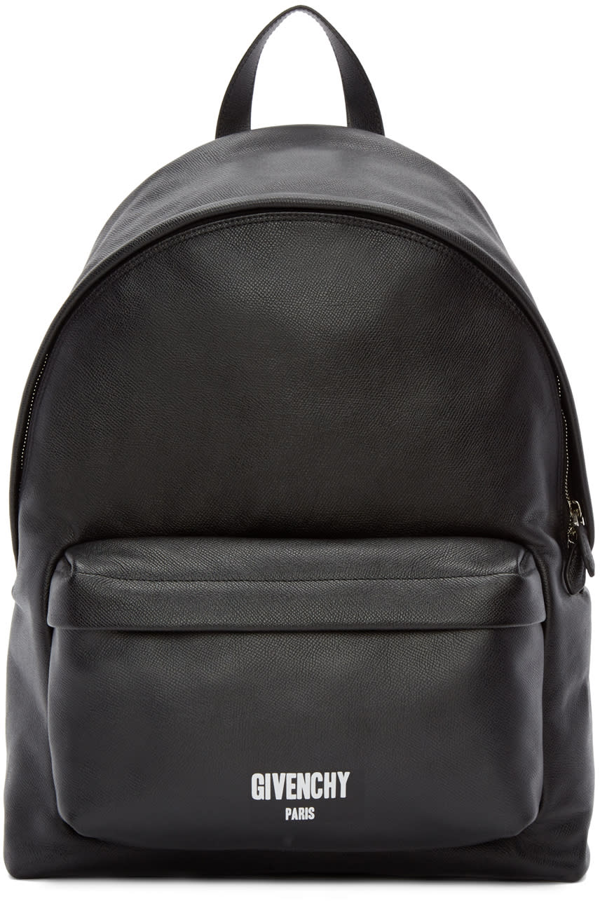 Givenchy Black Leather Logo Backpack