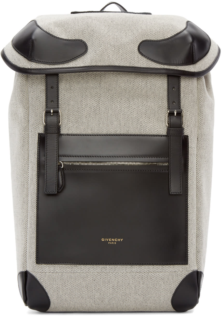 Givenchy Black and White Canvas Rider Backpack