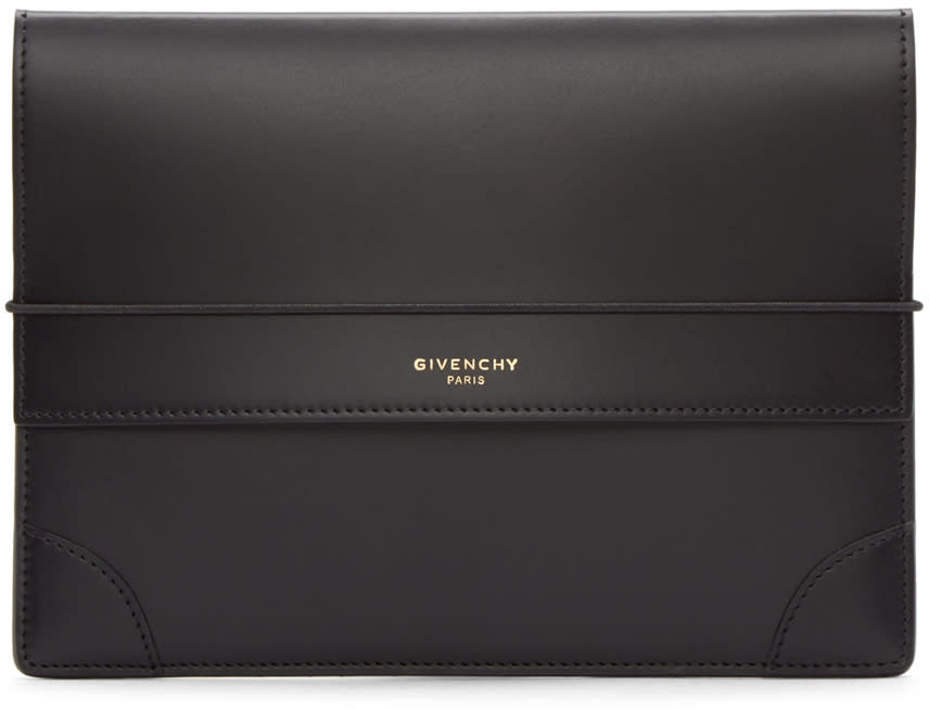 Givenchy Black Leather Medium Logo Pouch