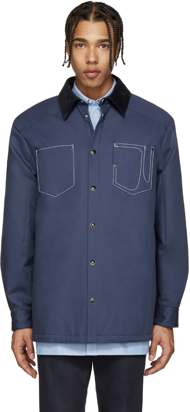 Givenchy Blue Corduroy Collar Jacket