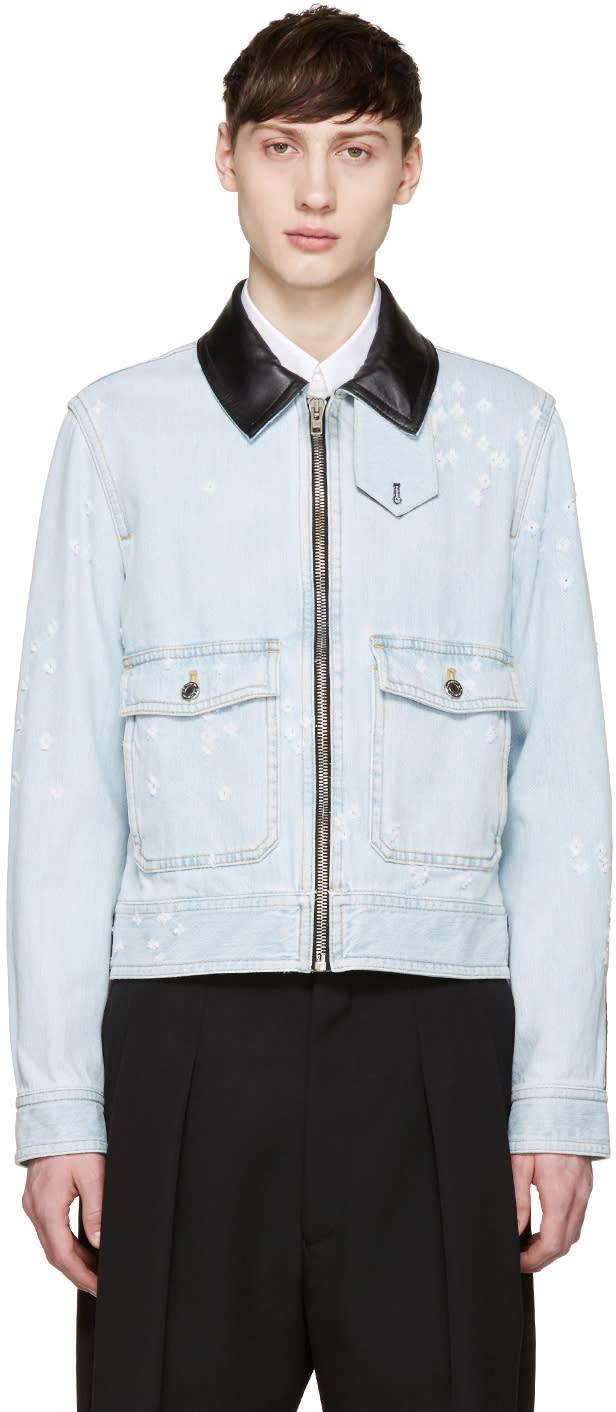 Givenchy Blue Leather-trimmed Denim Jacket