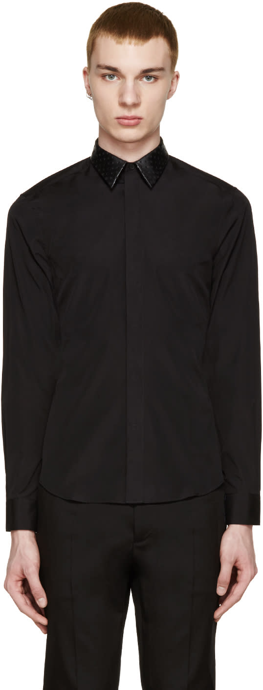 Givenchy Black Perforated Leather Collar Shirt