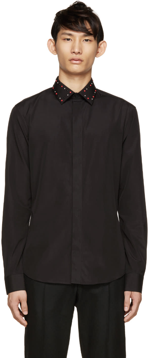 Givenchy Black Poplin Studded Collar Shirt