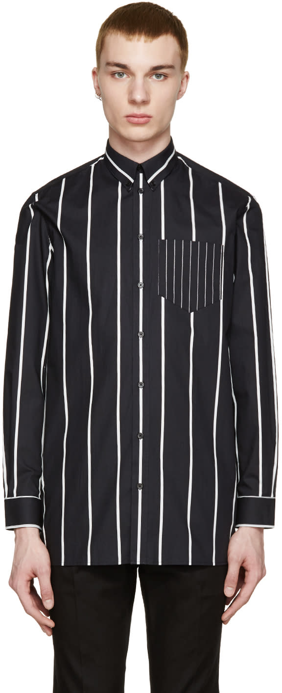 Givenchy Black and White Oversized Striped Shirt