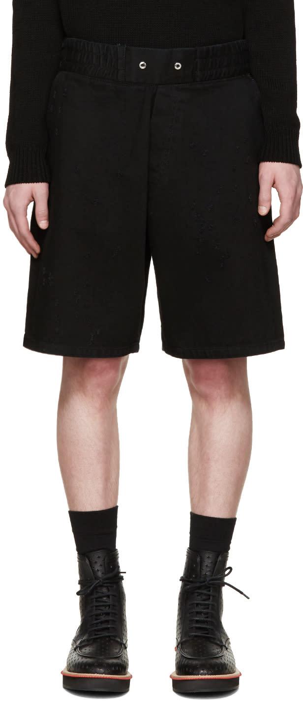 Givenchy Black Distressed Denim Shorts