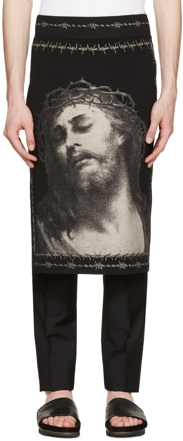 Givenchy Black Jersey Jesus Skirt