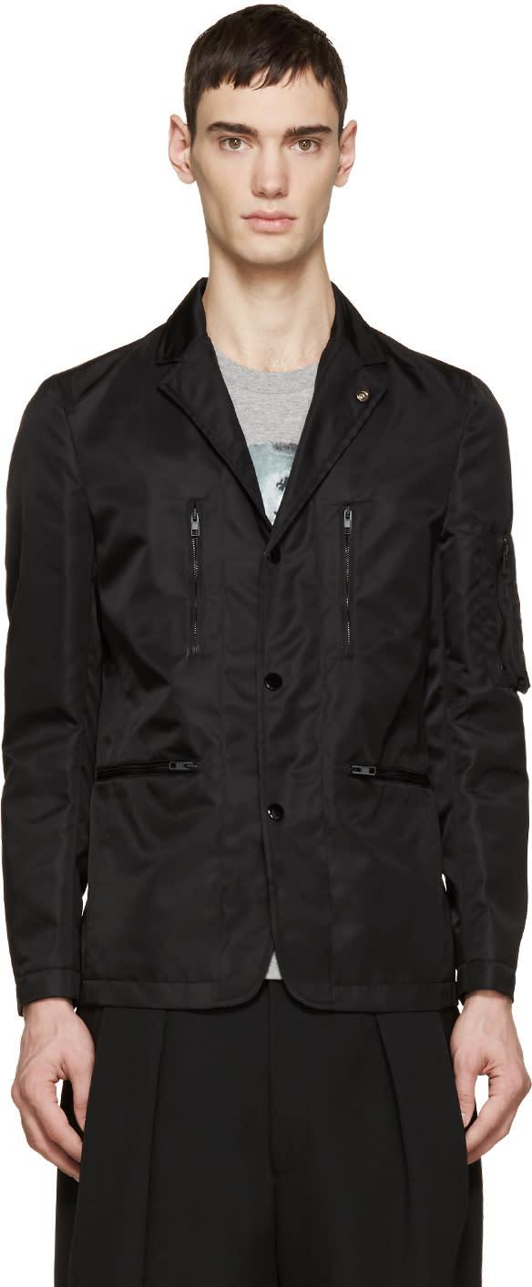 Givenchy Black Nylon Bomber Blazer
