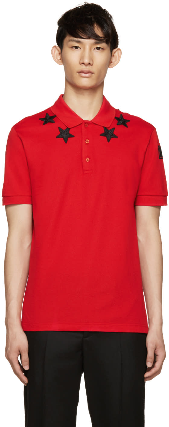 Givenchy Red and Black Star Polo