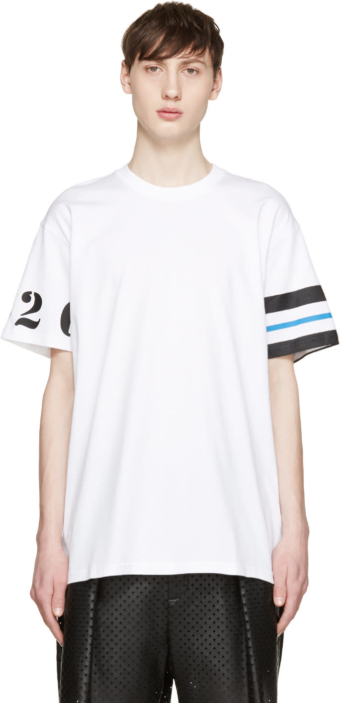 Givenchy White Numbers and Stripes T-shirt