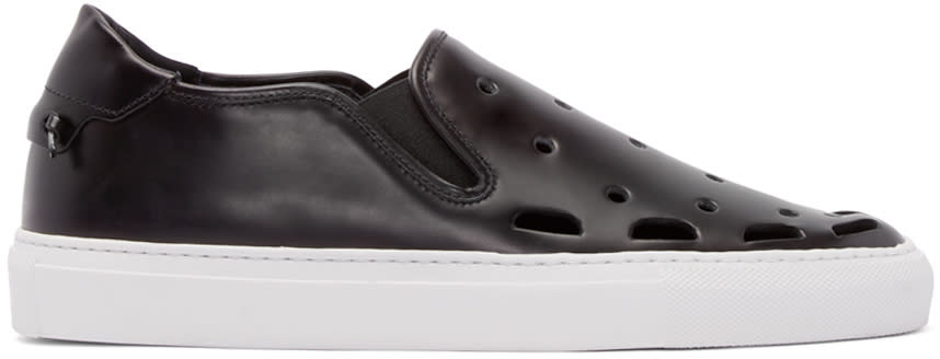 Givenchy Black Perforated Street Skate Slip-on Sneakers