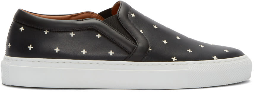 Givenchy Black Cross Print Slip-on Sneakers
