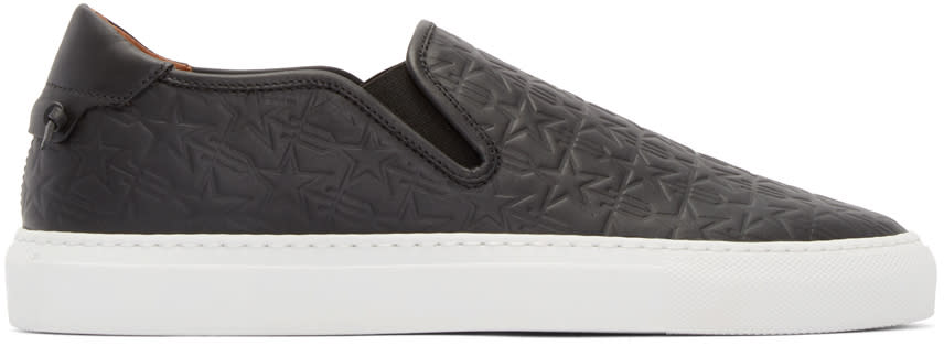 Givenchy Black Leather Trident Slip-on Sneakers