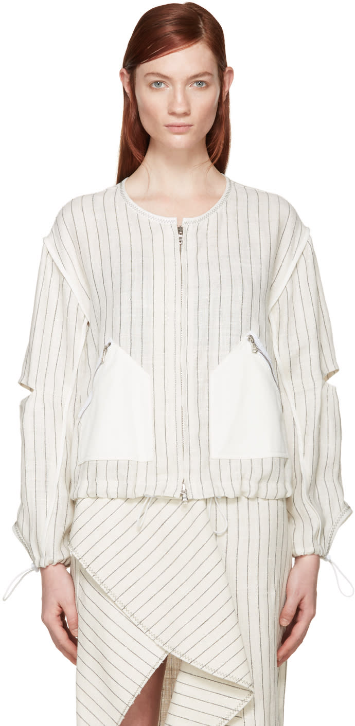 3.1 Phillip Lim Off-white Linen Pinstripe Bomber Jacket at ssense.com men and women fashion