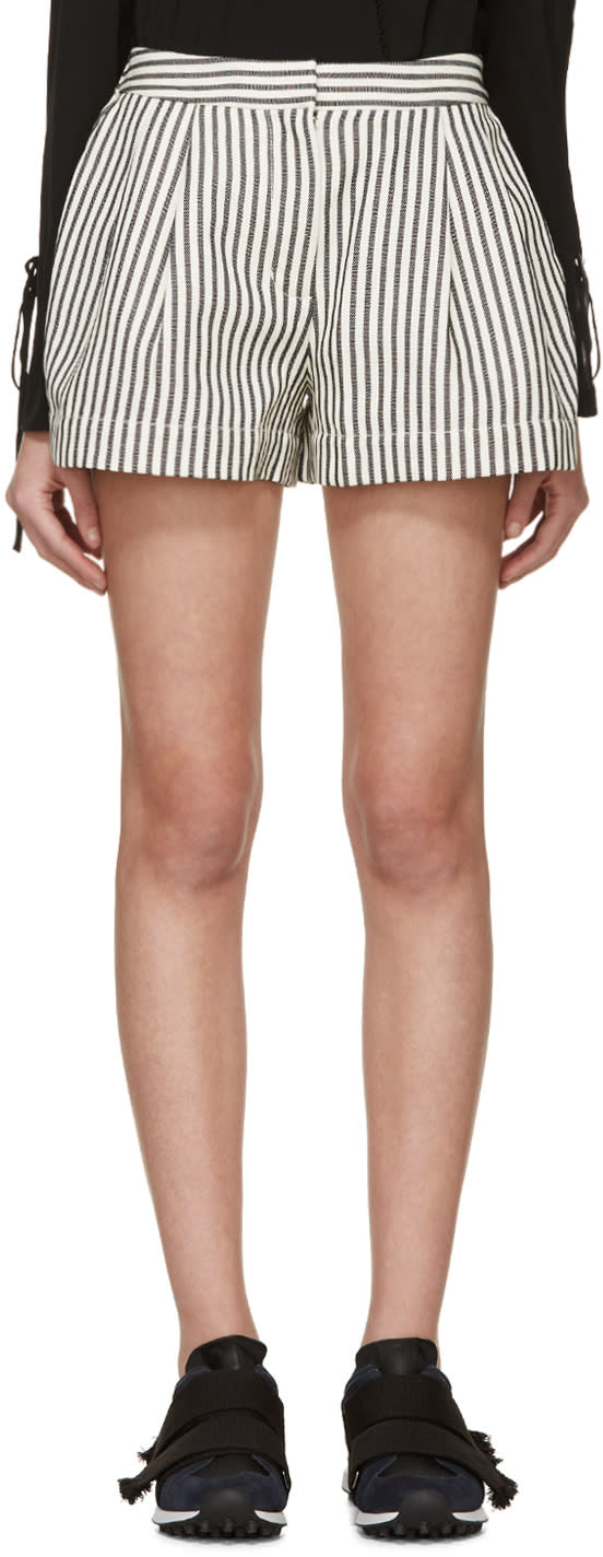 3.1 Phillip Lim Ivory and Navy Striped Shorts