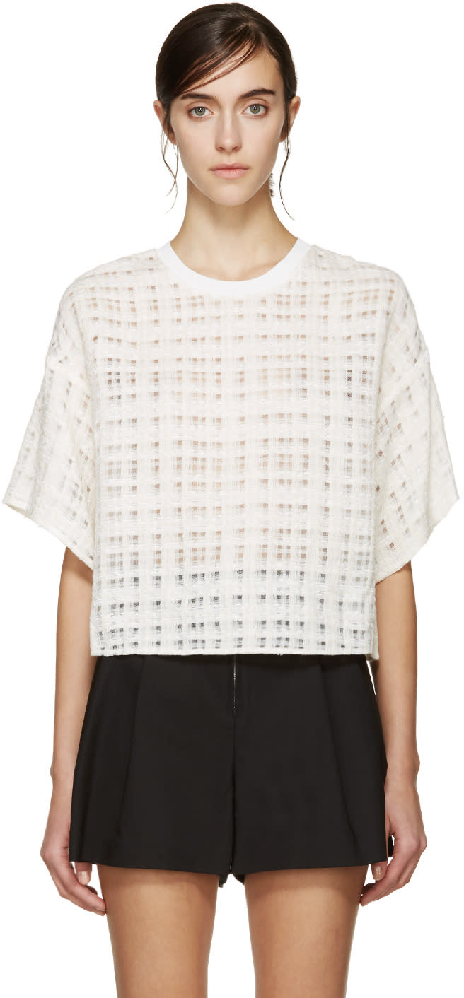 3.1 Phillip Lim Cream Woven Check Blouse