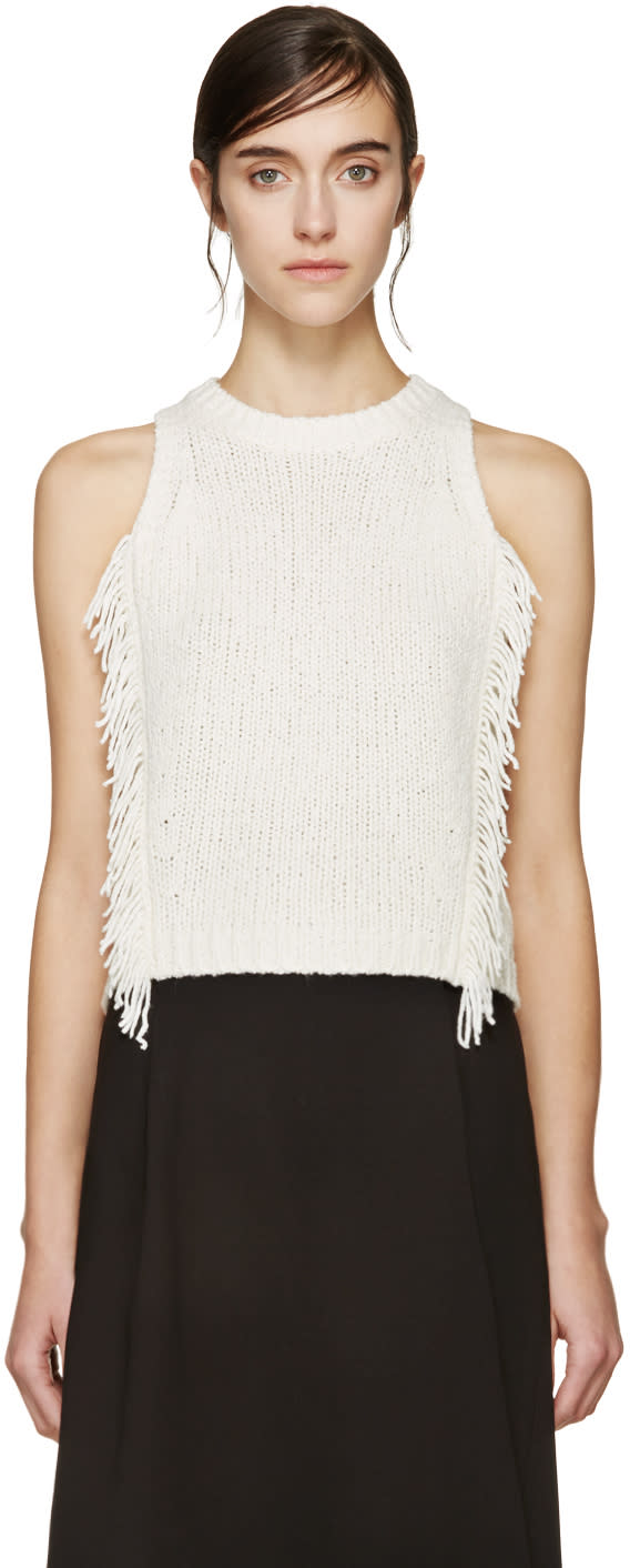 3.1 Phillip Lim Ivory Fringe Knit Tank Top