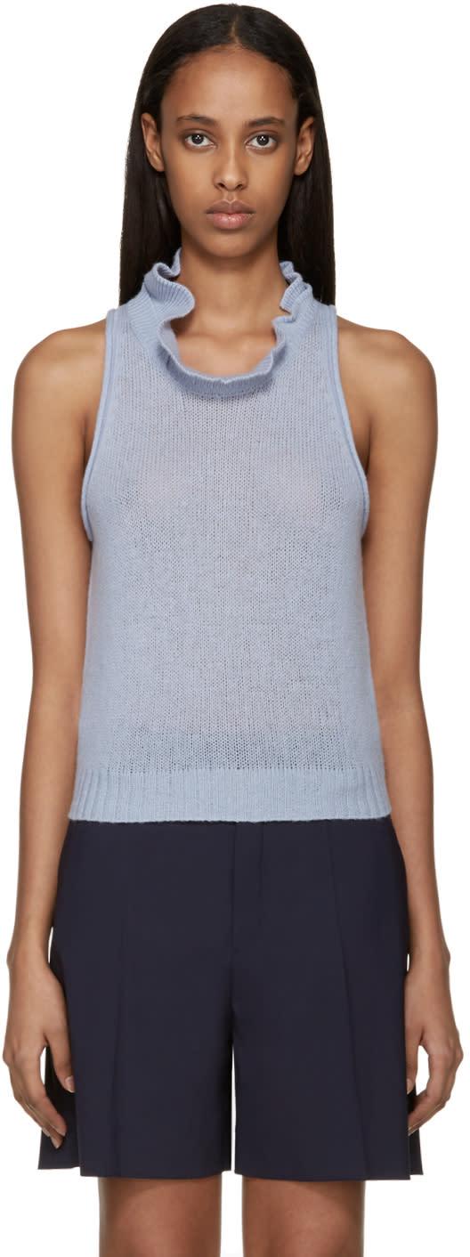 3.1 Phillip Lim Blue Knit Ruffle Collar Tank Top at ssense.com men and women fashion