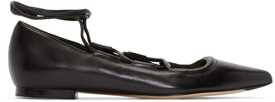 3.1 Phillip Lim Black Leather Martini Flats at ssense.com men and women fashion
