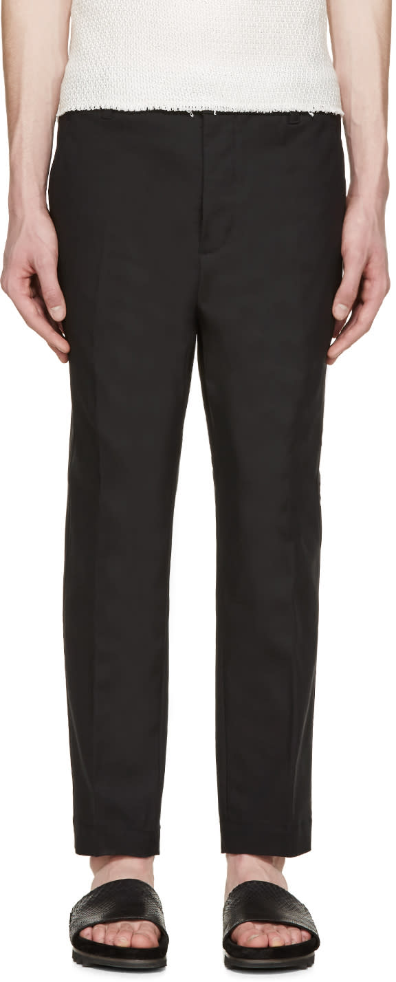 3.1 Phillip Lim Black Tapered Saddle Trousers