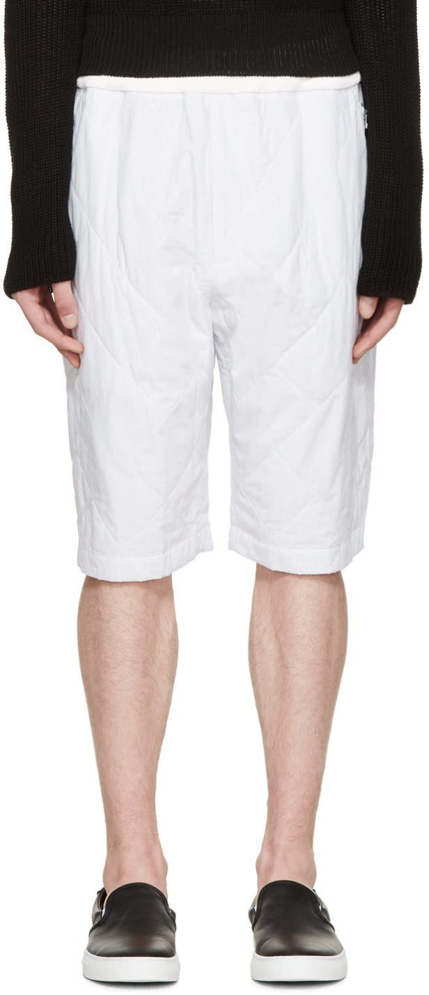 3.1 Phillip Lim White Quilted Pinstriped Shorts