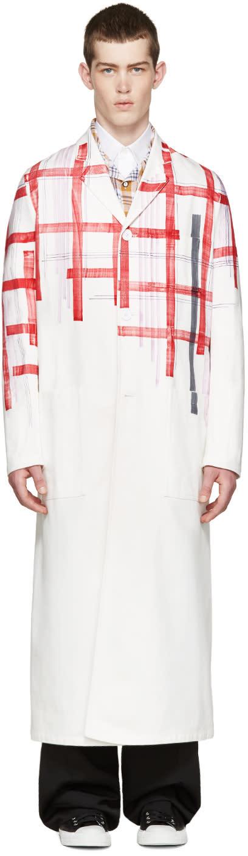 Raf Simons White Fragmented Plaid Coat