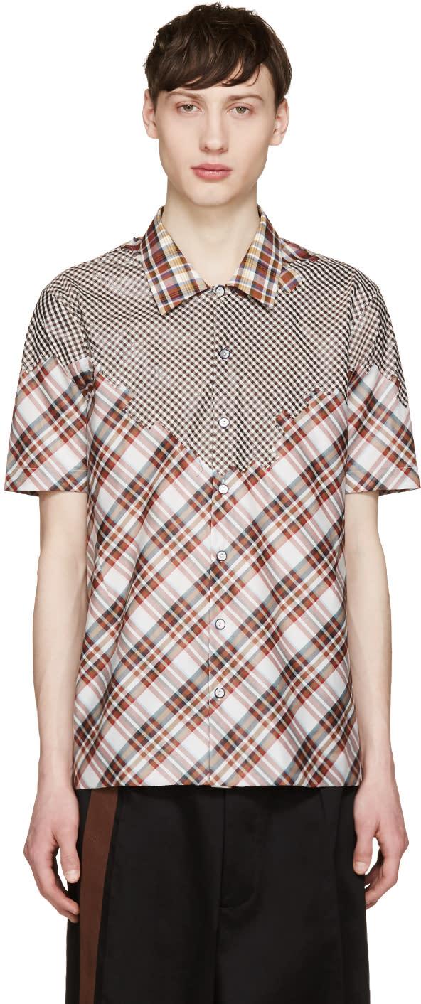 Raf Simons Red and White Plaid Shirt