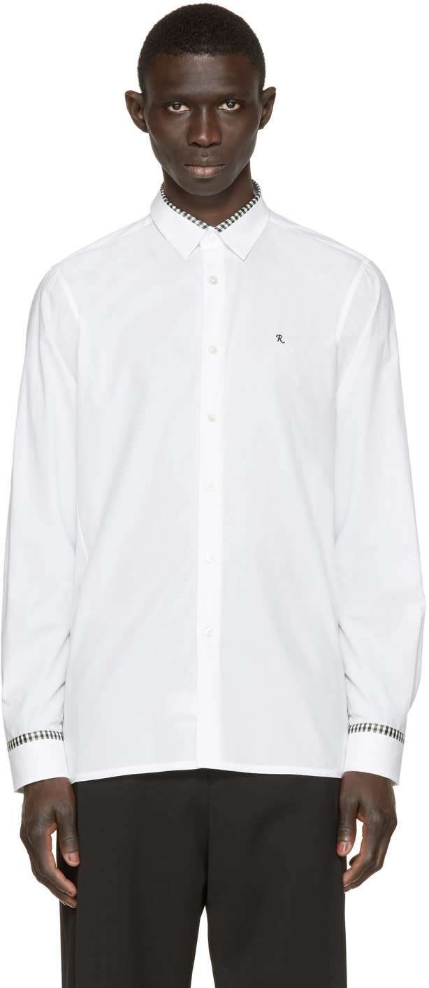 Raf Simons White Plaid Trim Logo Shirt