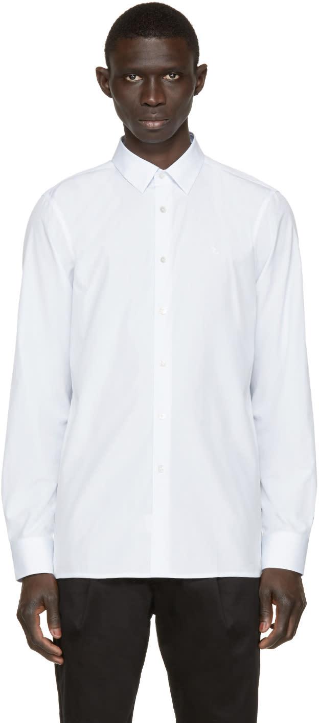 Raf Simons White and Blue Classic Logo Shirt