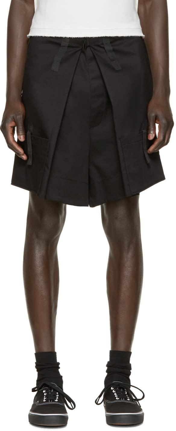Raf Simons Black Pleated Shorts