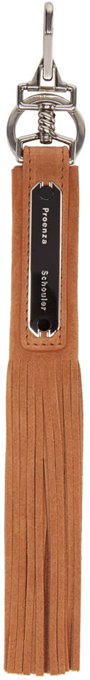 Proenza Schouler Tan Suede Fringed Keychain