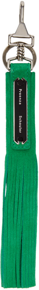 Proenza Schouler Green Fringed Suede Keychain