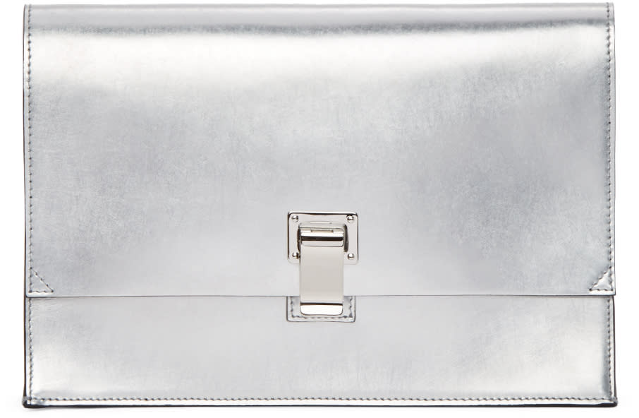 Proenza Schouler Silver Small Lunchbag Clutch