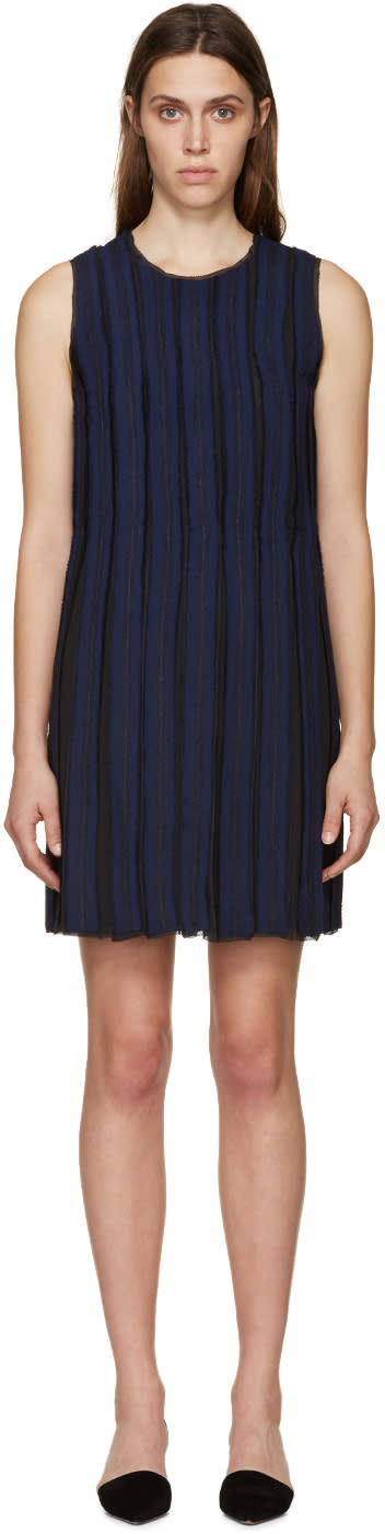 Proenza Schouler Black and Navy Pleated Shift Dress