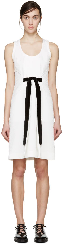 Proenza Schouler White Jacquard Velvet Bow Dress