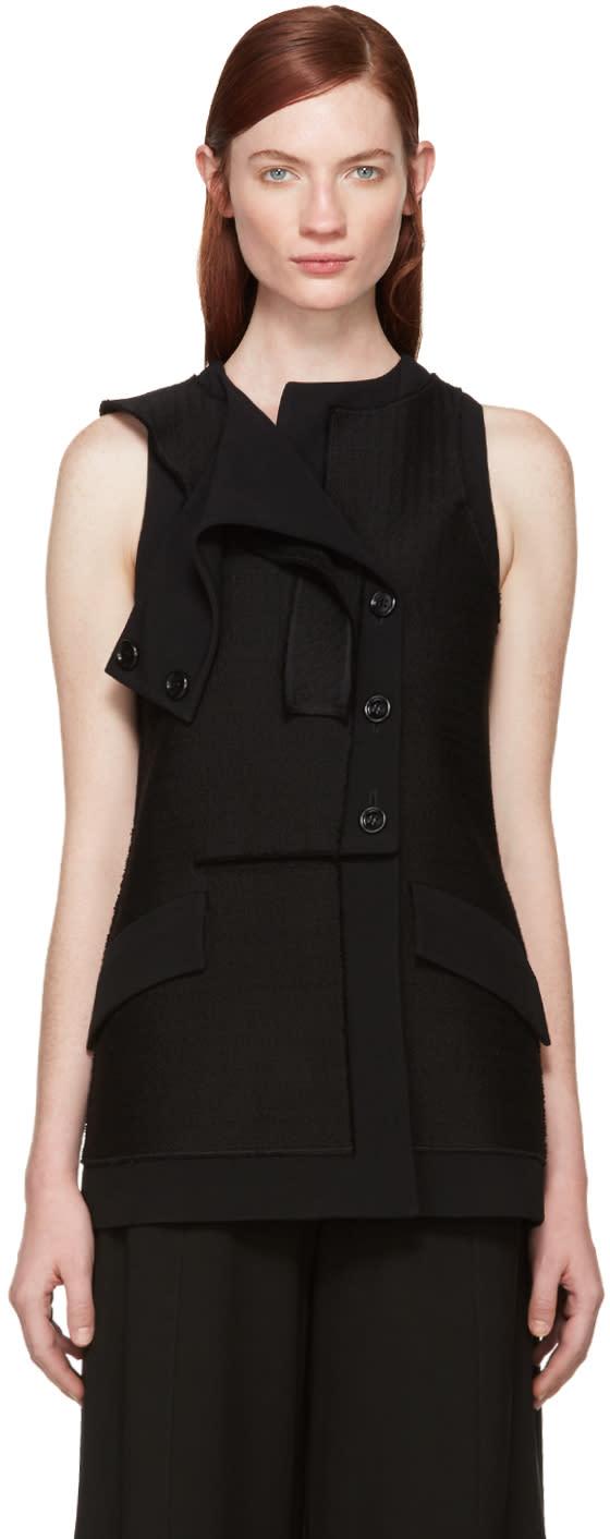 Proenza Schouler Black Tweed Asymmetric Vest