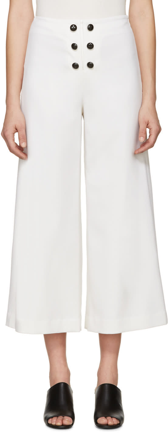 Proenza Schouler Ivory Wool Tropical Trousers