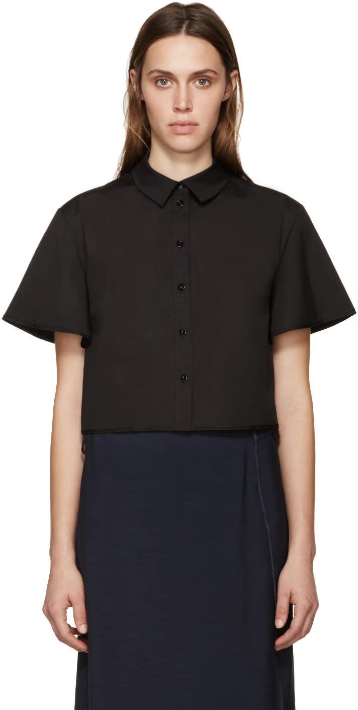 Proenza Schouler Black Poplin Cropped Shirt