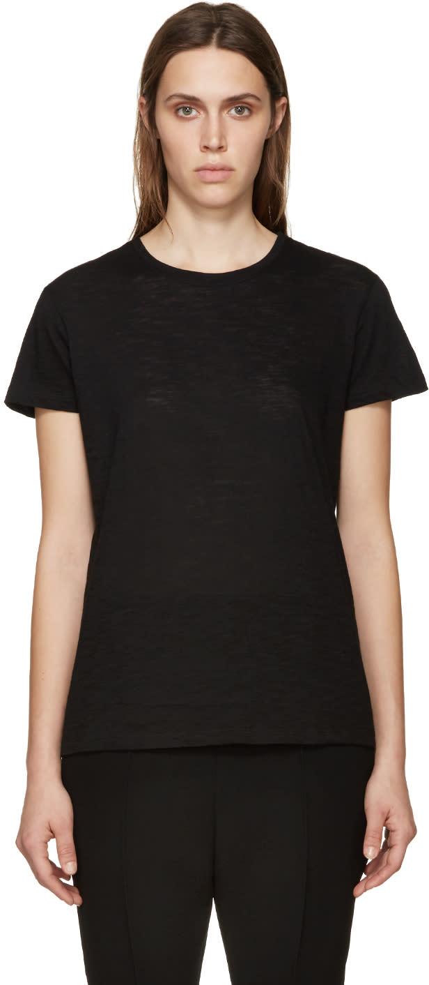 Proenza Schouler Black Slub Cotton T-shirt