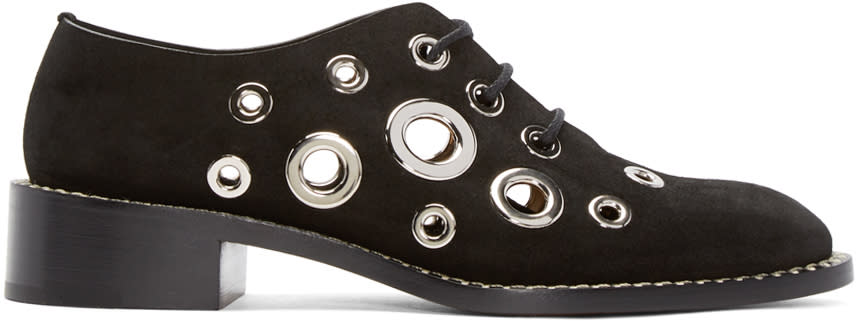 Proenza Schouler Black Suede Eyelet Shoes