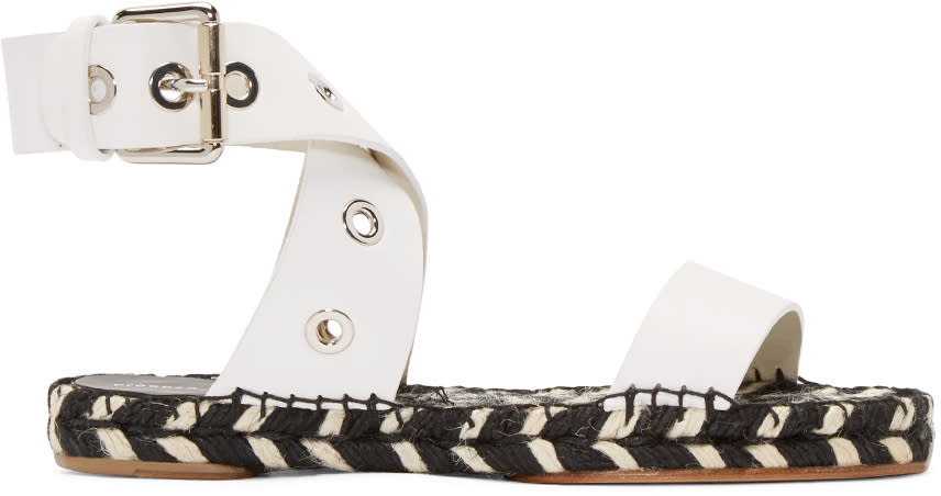 Proenza Schouler Black and White Leather Espadrilles