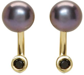 Pamela Love Ssense Exclusive Gold and Black Pearl Gravitation Earrings